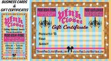 Pink Closet Business Card and Gift Certificate by South Side Signs